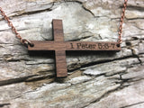 Wood Cross Necklace - Personalized