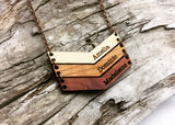 Pacific Northwest Chevron Wood Engraved Necklace