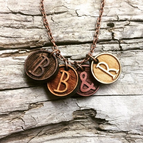 Initials Charm Wood Necklace - Mama Necklace