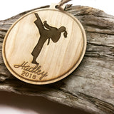 Karate Engraved Wood Christmas Ornament