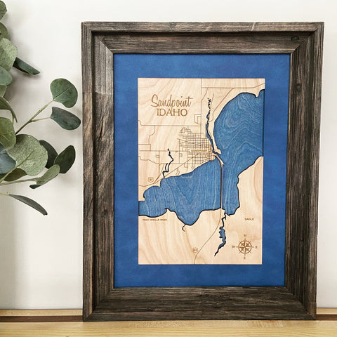 Sandpoint, Idaho Custom Engraved 3-D Wood Map Wall Hanging