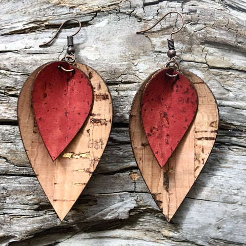Double Leaf Earrings - Natural Gold Fleck and Red Cork