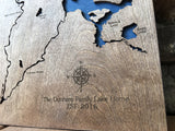 Chetek Chain of Lakes, Wisconsin Custom Engraved 3-D Wood Map Wall Hanging