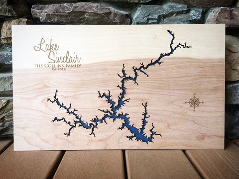 Lake Sinclair, Georgia Custom Engraved 3-D Wood Map Wall Hanging