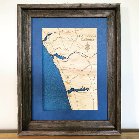 Carlsbad California Custom Engraved 3-D Wood Map Wall Hanging