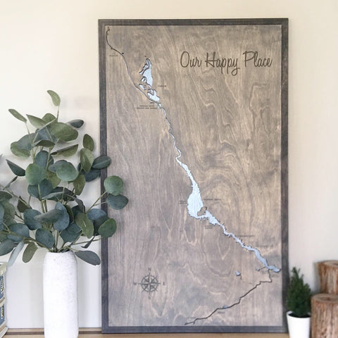 Lake Havasu, Arizona Custom Engraved 3-D Wood Map Wall Hanging