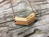 wood handwritten chevron necklace