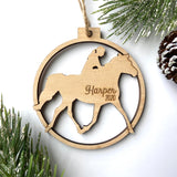 Horse Riding Personalized Wood Christmas Ornament