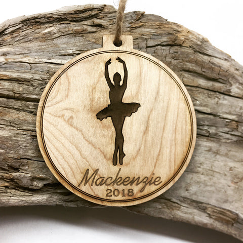 Ballerina Engraved Wood Christmas Ornament