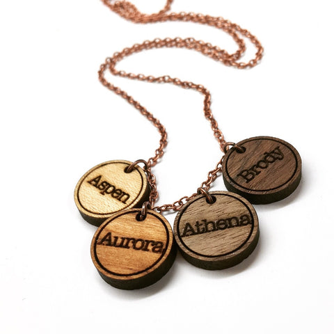 Mama Necklace - Round Wood Engraved Name Pendant Necklace