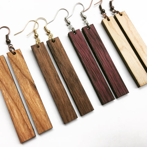 Wood bar earrings