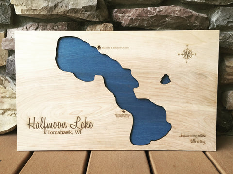 Halfmoon Lake, Wisconsin Custom Engraved 3-D Wood Map Wall Hanging