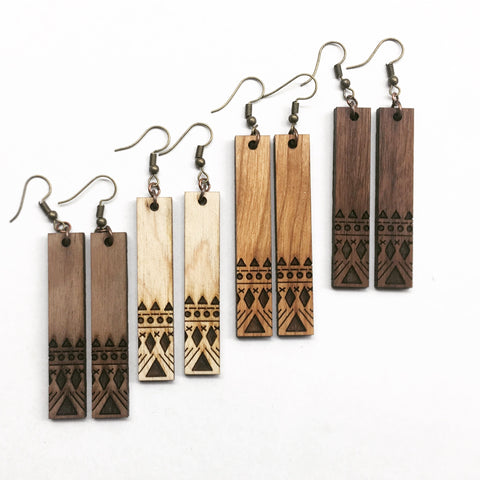 Geometric Engraved Wood bar earrings