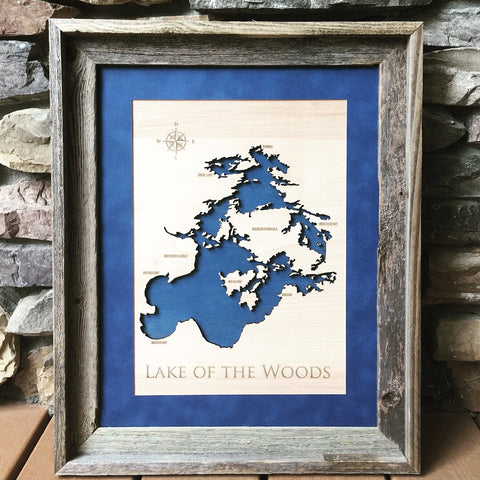 Lake of the Woods, Canada - Custom Engraved 3-D Wood Map Wall Hanging