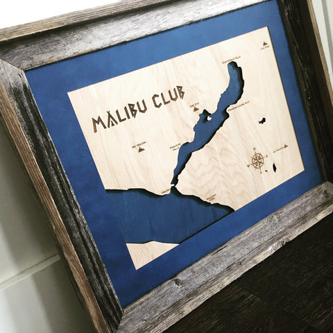 Malibu, Canada - Princess Louisa Inlet Engraved 3-D Wood Map Wall Hanging