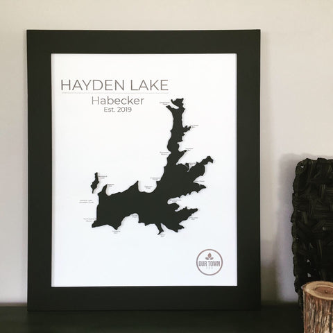 Monochrome - 3-D Raised Lake Map