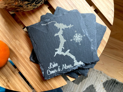 Set of 4 Lake Coeur d'Alene, Idaho Slate Coasters