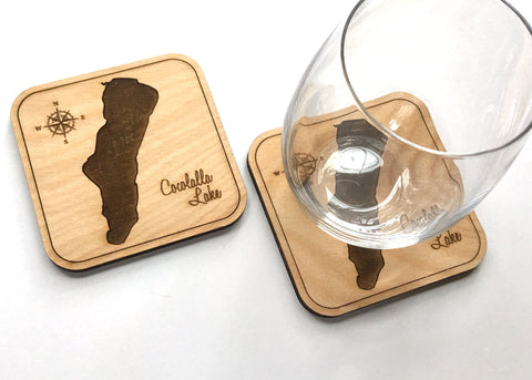 Lake Cocolalla wood coaster