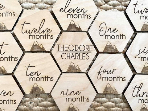 Mountains | Hexagon Baby Monthly Milestone Discs - FULL SET