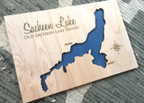 Sacheen Lake, Washington - Custom Engraved 3-D Wood Map Wall Hanging