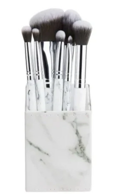 **NEW BH Cosmetics | White Marble 9 Piece Brush Set with Angled Brush Holder
