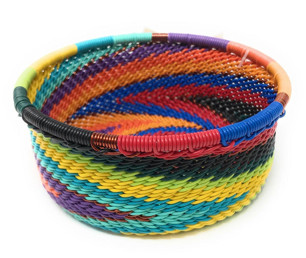 Fair Trade Zulu Telephone Wire Baskets from South Africa -  Rainbow