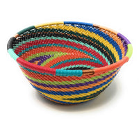 Fair Trade Zulu Telephone Wire Baskets from South Africa - Small Bowl Rainbow