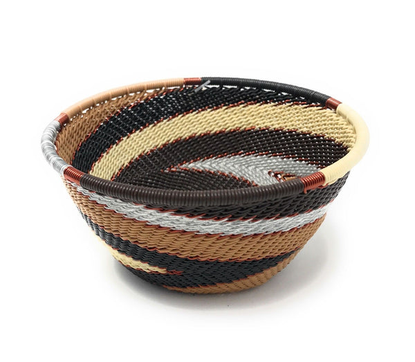 Fair Trade Zulu Telephone Wire Baskets from South Africa - Sm Bowl Silver Sand