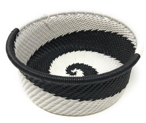 Fair Trade Zulu Telephone Wire Baskets from South Africa -  Black & White