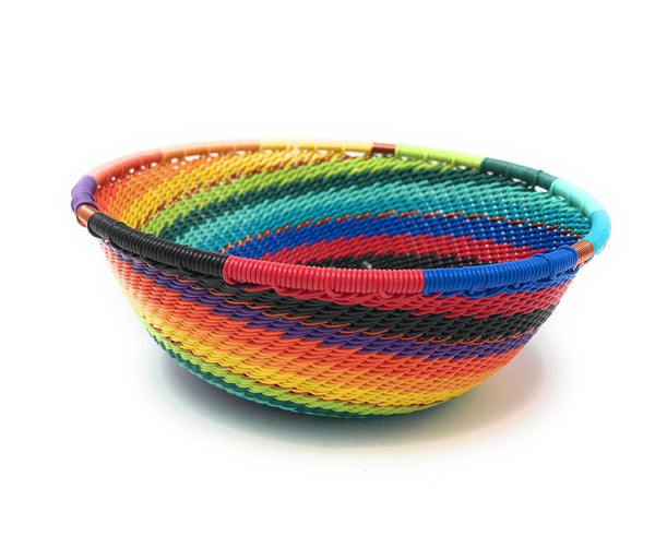 Fair Trade Zulu Telephone Wire Baskets from South Africa - Sm Wide Bowl Rainbow