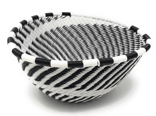 Fair Trade Zulu Telephone Wire Baskets South Africa - Sm Triangle Black & White