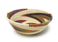 Fair Trade Zulu Telephone Wire Baskets from South Africa - Sm Wide Bowl Desert