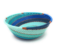 Fair Trade Zulu Telephone Wire Baskets from South Africa - Small Wide Bowl Ocean