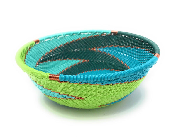 Fair Trade Zulu Telephone Wire Baskets from South Africa - Small Wide Bowl Teal