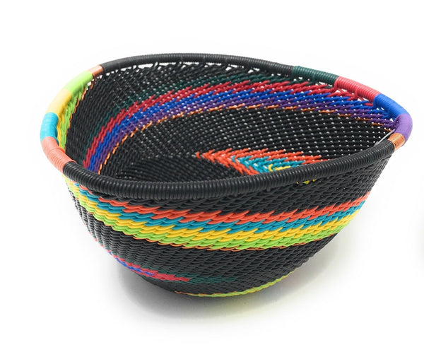 Fair Trade Zulu Telephone Wire Baskets  South Africa-Sm Triangle Black Rainbow