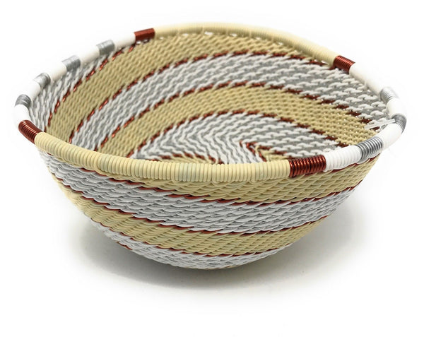 Fair Trade Zulu Telephone Wire Baskets from South Africa - Small Triangle Mist