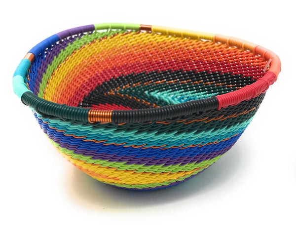 Fair Trade Zulu Telephone Wire Baskets  from South Africa - Sm Triangle Rainbow