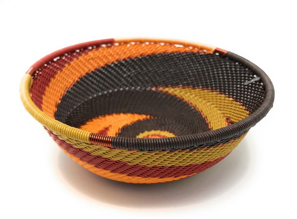 Fair Trade Zulu Telephone Wire Baskets South Africa - Sm Wide Bowl Dark Earth