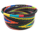 Fair Trade Zulu Telephone Wire Baskets from South Africa -  Black Rainbow