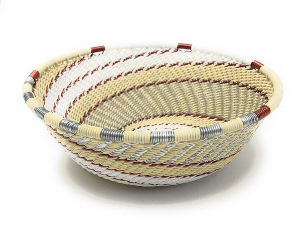 Fair Trade Zulu Telephone Wire Baskets from South Africa - Small Wide Bowl Mist