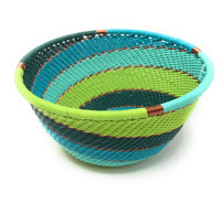 Fair Trade Zulu Telephone Wire Baskets from South Africa - Small Bowl Teal
