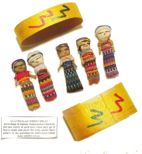 Five Large Worry Dolls in a Box