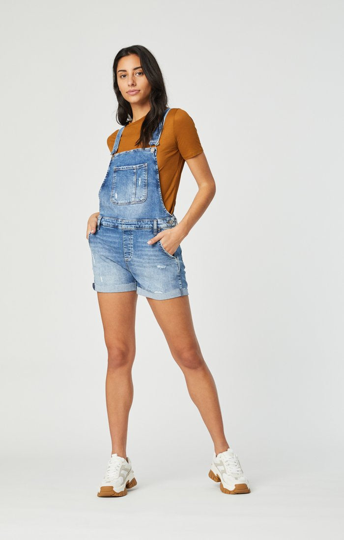 Mavi Wanda Ripped Denim Overall Shorts