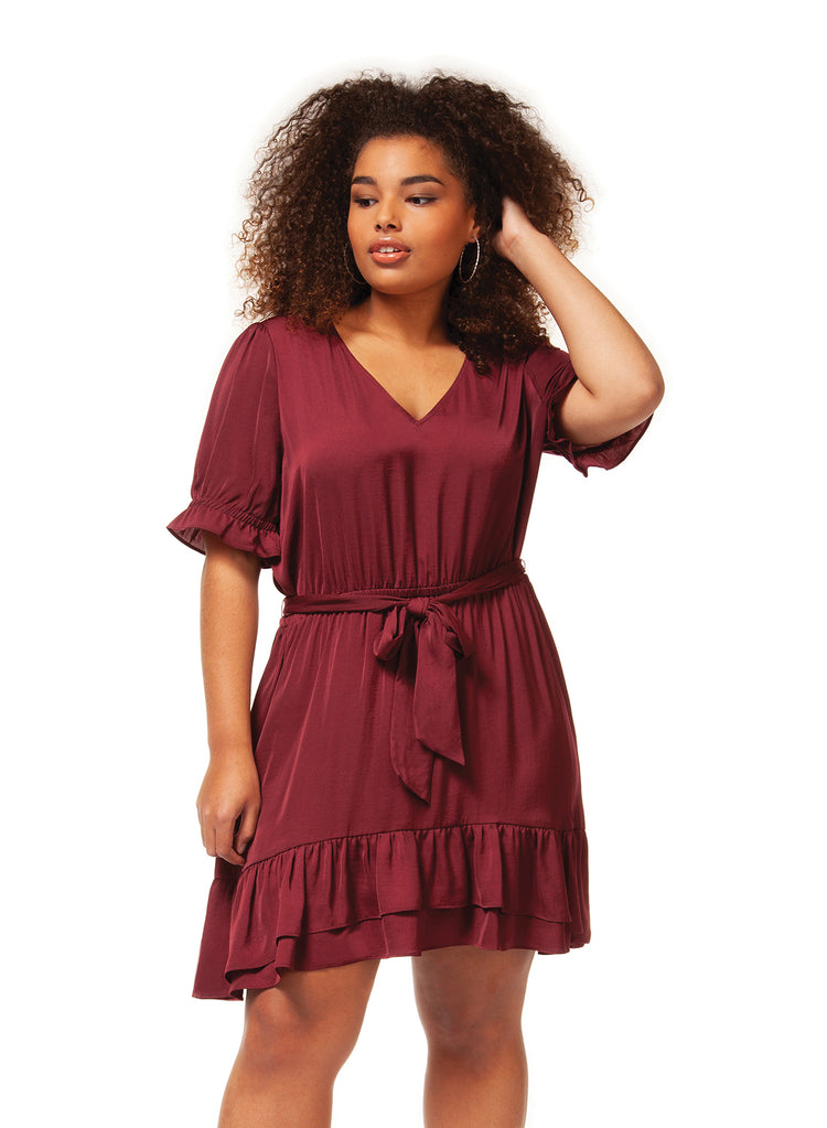 Dex + Ruffle Trimmed Belted Dress