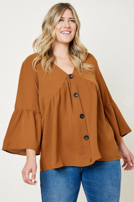 Hayden PLUS Ruffle Bell Sleeve Button Down Top