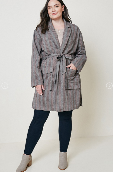Hayden PLUS Herringbone Stripe Trench Coat