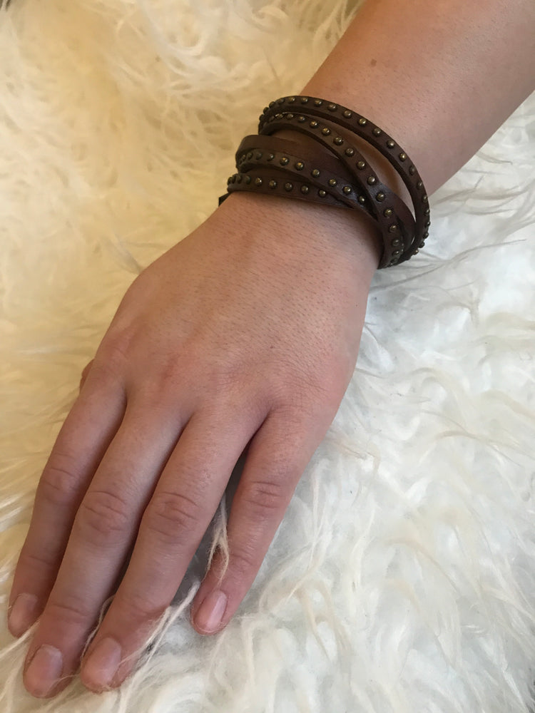 Brown Leather studded Wrap Bracelet