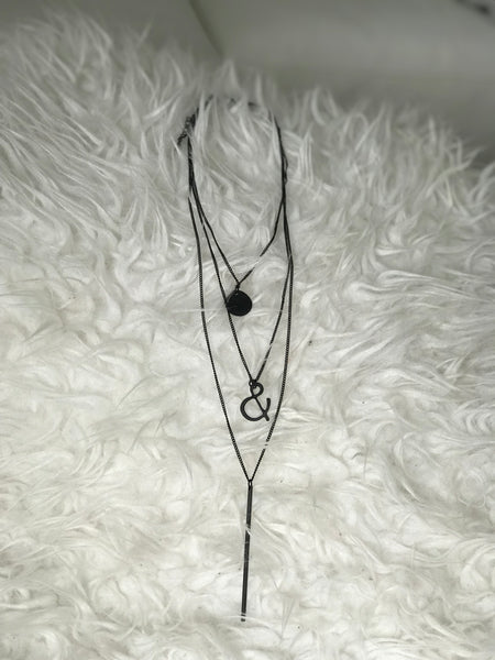 Matte black layered necklace