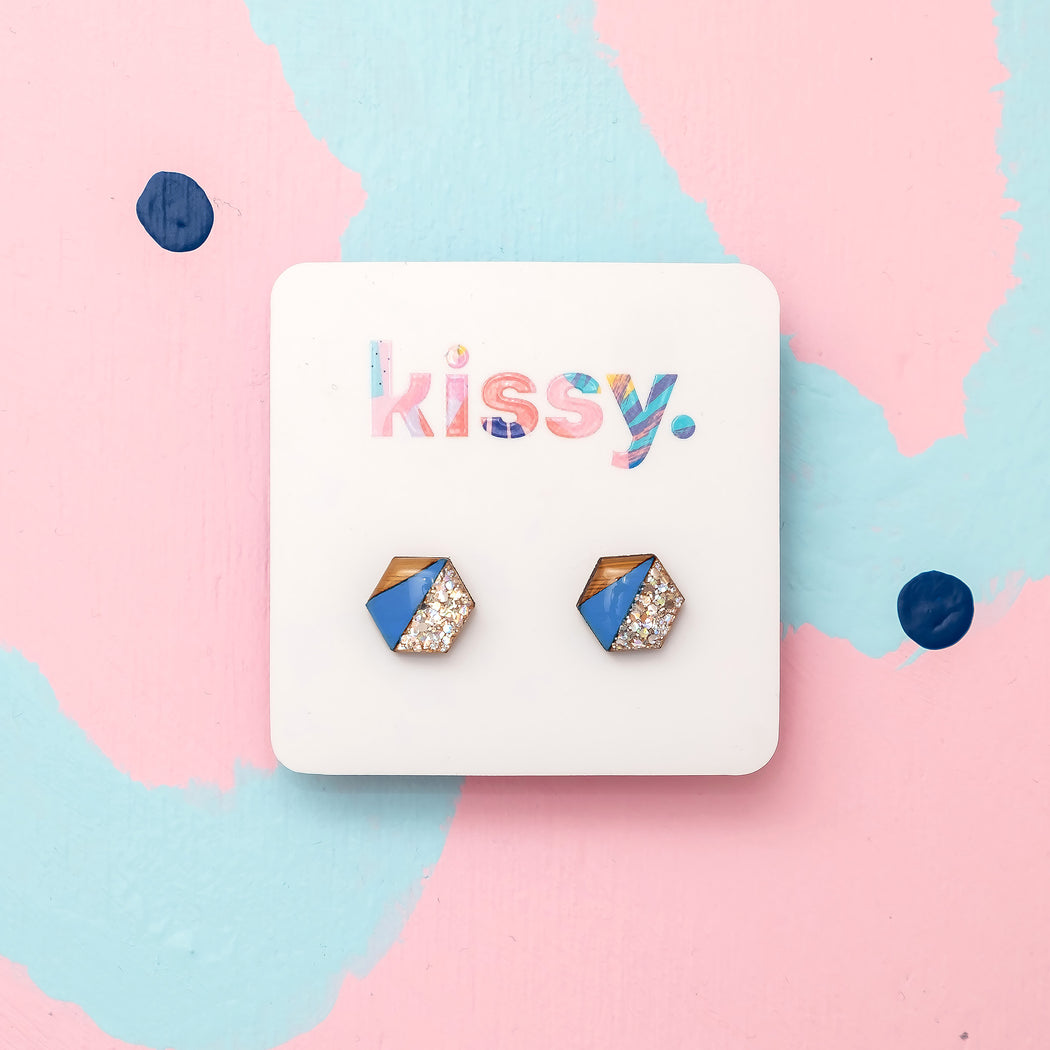 Geo Hand Painted Stud - Blue & Silver