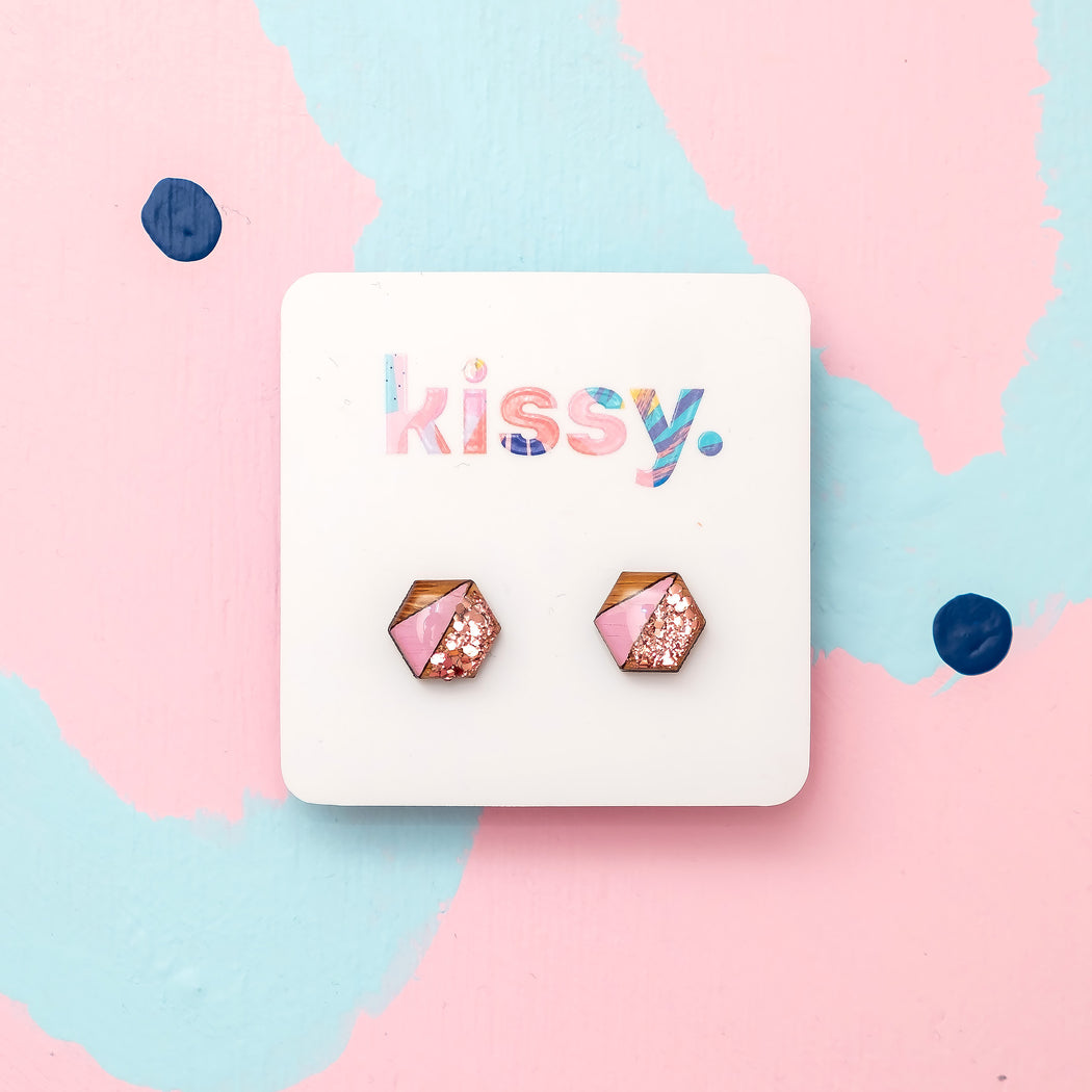 Geo Hand Painted Stud - Rose Gold & Pink